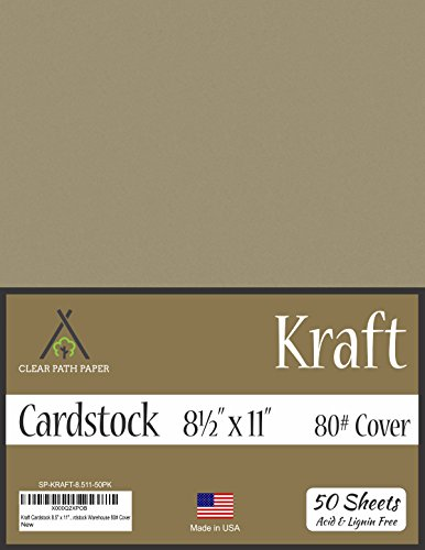 Kraft Brown Cardstock - 8.5 x 11 inch - 80Lb Cover - 50 Sheets by Clear Path Paper