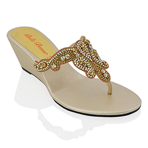 (ESSEX GLAM Womens Slip On Toe Post Sparkly Diamante Gold Synthetic Dressy Wedge Heel Sandals 9 B(M) US)