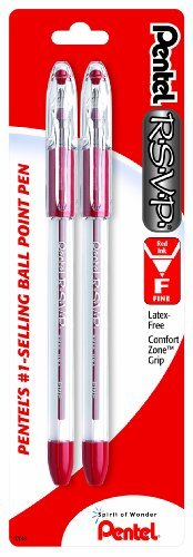 Pentel R.S.V.P. Ballpoint Pen, Fine Line, Assorted Ink, 3 Pack (BK90BP3M)