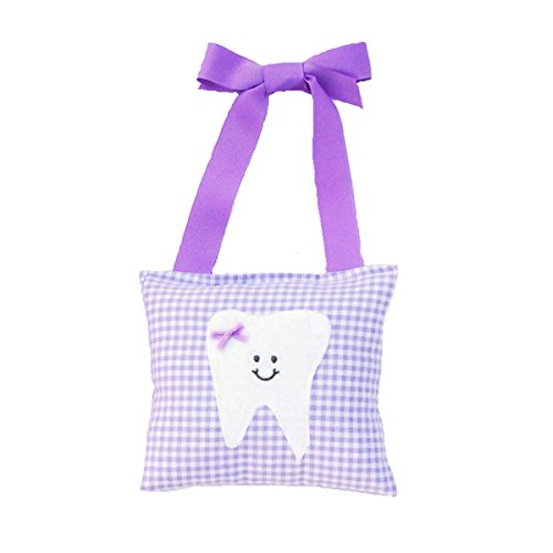 - Girl's Tooth Fairy Pillow in Lilac Gingham Print