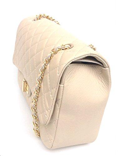 SUPERFLYBAGS Borsa in vera pelle trapuntata modello Parigi XL Made in Italy beige