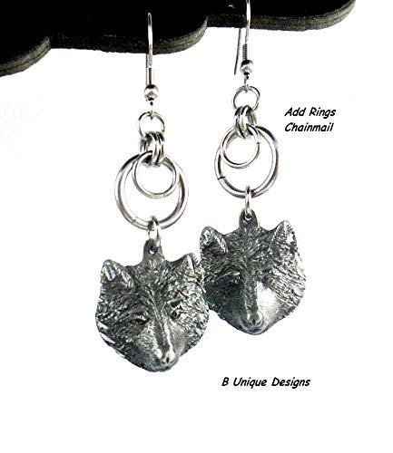 Wolf Earrings Women's Chain-Mail Wild Animal Wolves Jewelry Add Byzantine Chainmaille or Steel Chains Tassel