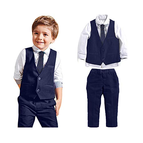 Lurryly 2018 Baby Boys Gentleman Wedding Suits Shirts+Waistcoat+Long Pants+Tie Clothes 1Set 2-7T (Size:6T, Blue)