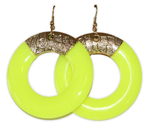 [Neon Nation Colored Round Earring w/ Gold Accents 1980s 80s Costume Party (Yellow)] (80s Earrings)