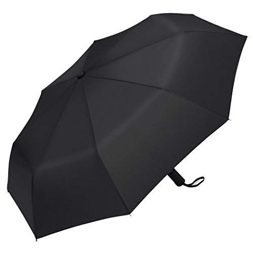 Plemo Auto Open Close Umbrella, Compact Folding Travel Umbrella with Anti-Slip Rubberized Grip and 210T High-Density Water-Repellent fabric (Classic Black)
