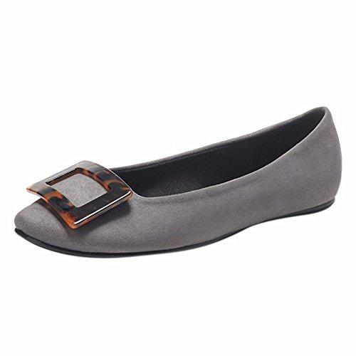 Única Gray Superficial Fondo Plano del Mujer Zapatos Inferior Slacker La Zapato Redonda YUCH Cabeza tFUqZ