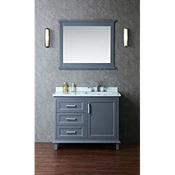 This Item Ariel Scnan42swg Nantucket 42 Single Sink Bathroom Vanity Set With Marble Top Tapered Legs And Molding Detail In Whale