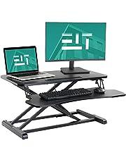 EleTab Standing Desk Converter Sit Stand Desk Riser Stand up Desk Tabletop Workstation fits Dual Monitor