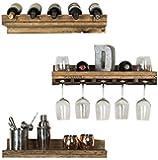 del Hutson Designs - Rustic Luxe Floating Wine Shelf & Glass Rack Set, USA Handmade, Pine Wood, Set of 3 (dark walnut)