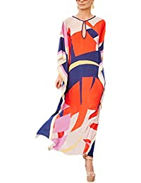 Women Bathing Suits Cover Up Ethnic Print Kaftan Beach Maxi Dress