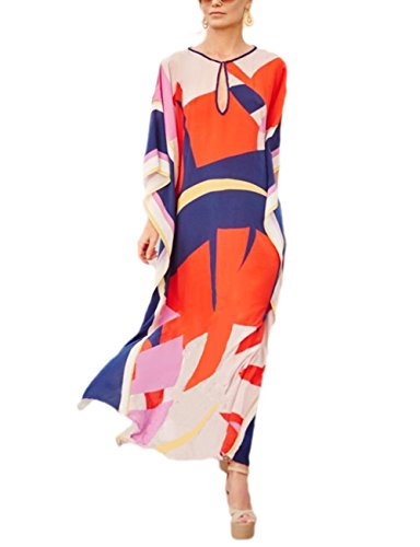 Bsubseach Women Loose Multicolor Colorblock Beach Dress Half Sleeve Long Kaftan Swimsuit Cover Up ()