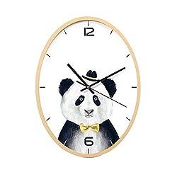 Wall Clock Cute Panda Pattern for Kid Wall Decoration Wooden Mute Bedroom Living Room Children's Room Restaurant