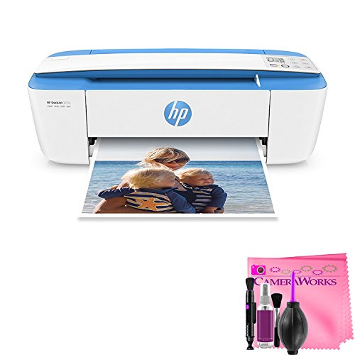 HP DeskJet 3755 Compact All-in-One Wireless Printer with Mobile Printing, HP Instant Ink & Amazon Dash Replenishment ready – Blue Accent (J9V90A) + Camera Works Printer Cleaning Solution