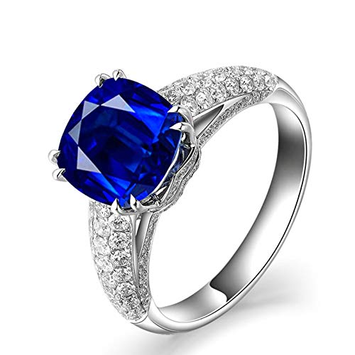 MoAndy White Gold 18K Female Rings Statement Ring Sapphire 2.1ct & Diamond Blue Size 8.5