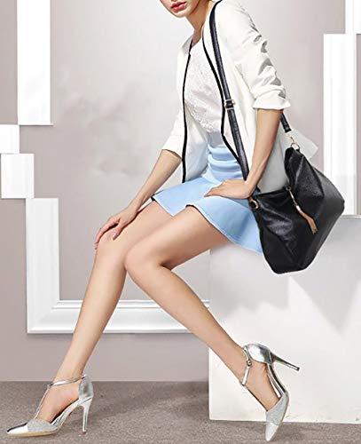 Sacs Sacs DEERWORD Bleu Femme main portés Sacs Cartable bandoulière main Cuir à Sacs Sacs épaule portés Noir Faux pC0qxwRq5