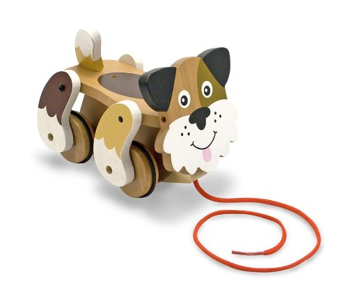 Melissa & Doug Playful Puppy Wooden Pull Toy for Beginner (Push Along Puppy)