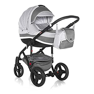 Baby Pram Pushchair Stroller Buggy Travel System Adamex Vicco + XXL Accessories Set (R13. Grau-Schwarz, 2in1)