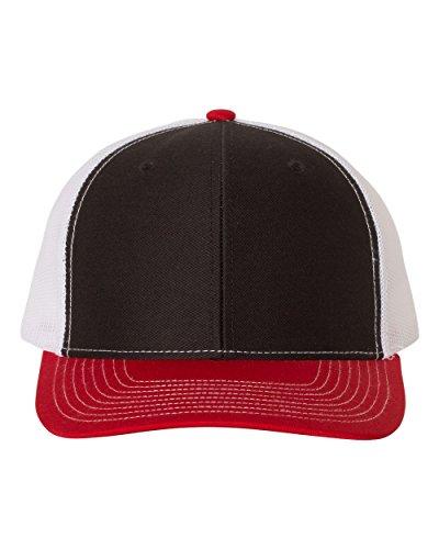 Richardson 112 Mesh Back Trucker Cap Snapback Hat, Black/White/Red