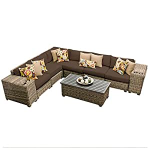 TK Classics CAPECOD-09a-COCOA 9 Piece Cape Cod Outdoor Wicker Patio Furniture Set, Cocoa