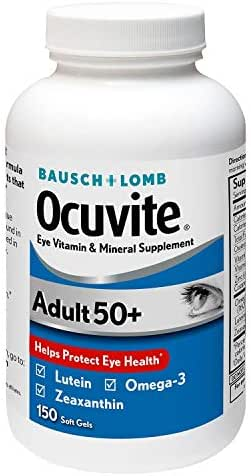 Bausch + Lomb Ocuvite Adult 50+ Vitamin & Mineral Supplement with Lutein, Zeaxanthin, and Omega-3, Soft Gels, 1 Pack, 150 Count
