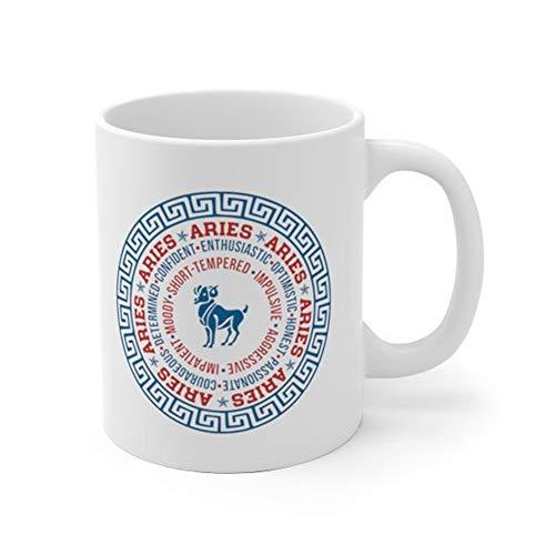SkyLine902 - Aries Zodiac Personality Mug, Aries Zodiac Mug, Aries Zodiac Gift, Aries Zodiac Birthday Gift, 11oz Ceramic Coffee Novelty ()