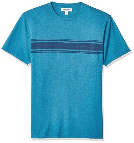 Goodthreads Men's Slub Placed-Stripe Crewneck T-Shirt, Teal Navy, Medium