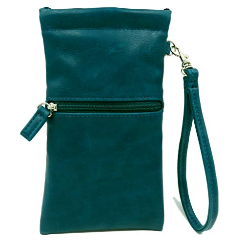 Soft Eyeglass Case | Soft Sunglasses Case | Cell Phone Holder with Wristlet Strap (CT8W Teal)