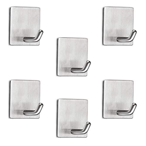 Airisoer Adhesive Hooks Wall Hooks Heavy Duty Stainless Steel Hooks for Hanging Towels Key Apply to Bathroom Home Kitchen Office 6 Packs