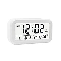 """EWTTO Digital Alarm Clock 4.6"""" Large LCD Display Desk Clock Battery Operated with 3 Alarms /5 Music Sounds/Temperature/Snooze for Kids Bedroom Travel Office"""