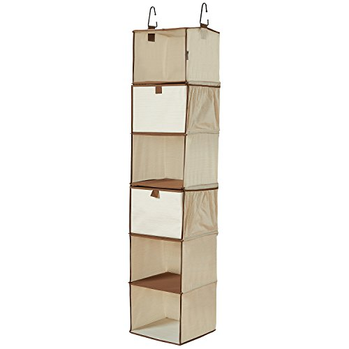 WANNAKEEP 6 Shelf Wardrobe Closet Hanging Organizer Shelves Portable Clothes Closet with 2 Drawers and 4 Stretchy Side Pockets for shoes underwears baby gadges, Polyester Cotton, 12x12x54