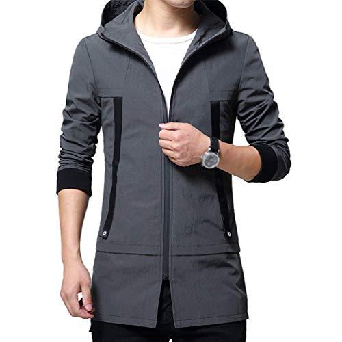 Grau Cardigan Uomo Autunno Con Inverno Fashion Da Cappuccio A Felpa Saoye Giacca Lunghe Maniche Giovane wqHx4CT
