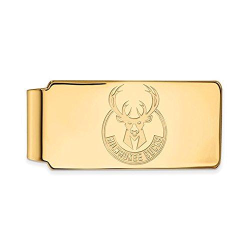 NBA Milwaukee Bucks Money Clip in 18k Yellow Gold Flashed Silver by LogoArt