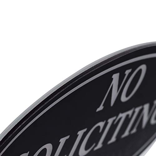 "No Soliciting Sign with Magnets on The Back, Black, 2.8"" x 7"", Keeps Unwanted Visitors Away, No Deforming, Residue Free Adhesive Included by Kichwit (Image #1)"