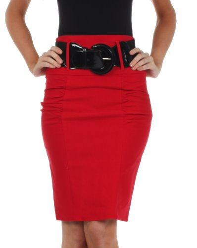 Petite Tweed Pencil Skirt - Sakkas IMShirrKneeBelti-9645 Petite High Waist Shirred Stretch Pencil Skirt with Wide Belt - Red / M