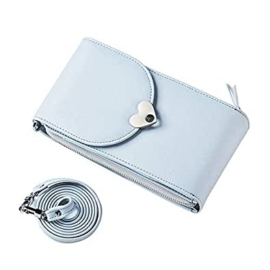 Small Crossbody Bag for Women Leather Cell Phone Purse Wallet With Credit Card Slots Blue Size: Small