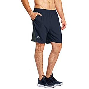 "BALEAF Men's 7"" Athletic Running Shorts Quick Dry Mesh Liner Back Zip Pocket"