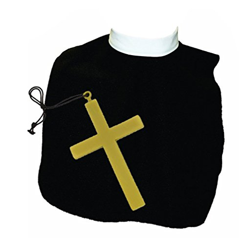 Black & White Catholic Priest Costume Collar w/ Giant Gold Cross Set