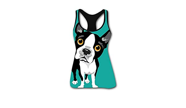 Mens Outdoor Sport Boston Terrier Tank Top Vest T-Shirt Fast Drying Tee