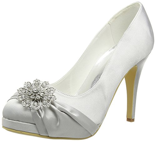 Platform Evening ElegantPark Pumps High Wedding Women Heel Buckle Silver Shoes Closed Party Satin Toe wqq46TIC