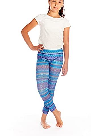 Crush Kids Fair Isle Print High Waist Fashion Leggings Pants Royal Size 7 - 16