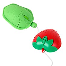 DURAGADGET Compact Novelty Mini Laptop / Tablet PC Mouse Bundle - Includes Red 'Strawberry' Mouse and Green 'Turtle' Mouse!