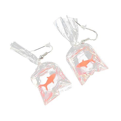 Earring for Women, Voberry Funny Cartoons Goldfish Water Bags Shape Dangle Earring Charm Resin Earrings (Hook Goldfish 14k Earrings)