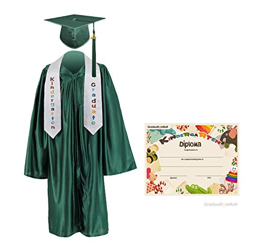 - GraduationMall Kindergarten Graduation Cap Gown Stole Package with 2018 Tassel, Certificate (2019 optional) Forest Green Small 27(3'6