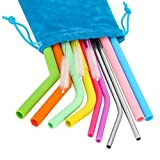 Oumers 10 PCS Reusable Silicone Drinking Straws Set with Storage Pouch- Silicone Drinking Straws,Stainless Steel Metal Straws, Cleaning Brushes for Tumbler Yeti/Rtic Complete Bundle- Different Size