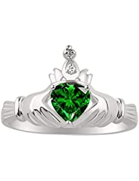 CLADDAGH Claddah Love, Loyalty & Friendship Ring Ring with Heart Shape Simulated Emerald and Genuine Diamond in Sterling Silver or 14K Yellow Gold Plated Silver .925-6MM Color Stone