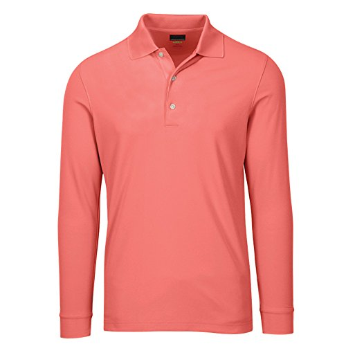 Greg Norman Men's Solar Xp Weatherknit Long Sleeve Polo, Coral Sun, X-Large