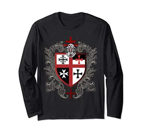 Templar Knight Cross Shield Emblem Coat of Arms Helmet Armor Long Sleeve T-Shirt