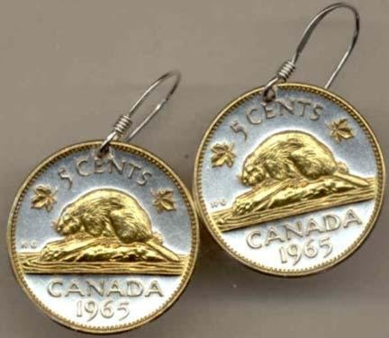 Canadian Nickel ÒBeaverÓ Two Tone Coin Earrings