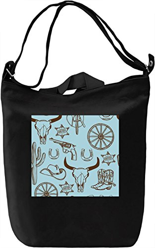Cowboy Stuff Print Borsa Giornaliera Canvas Canvas Day Bag| 100% Premium Cotton Canvas| DTG Printing|