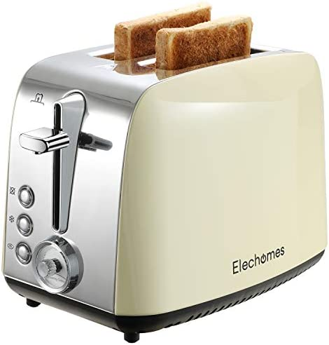 Toaster 2 Slice, Elechomes Stainless Steel Retro Toaster with Bagel, Cancel, Defrost Function, 1.5in Extra Wide Slots Bread Toaster with 7 Shade Settings, Removable Tray for Easy Cleaning, Cream Yellow